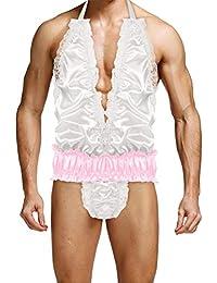 YiZYiF Homme Maillots de Corps Sissy sous-vêtement Dentelle Satin Body  Lingerie Plaisir Vêtement de fb79d147c0d9