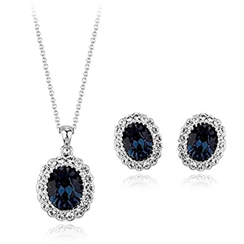 18ct White Gold Finish Jewellery Set with Swarovski Sapphire Crystals - Nero D'argento Dei Monili