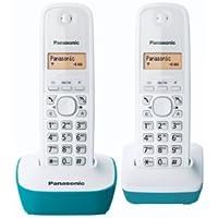 Panasonic KX-TG1612FRH - 2 teléfonos fijos inalámbricos DECT sin contestador, color azul [Importado de Francia]