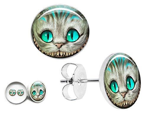 Handgefertigte Schmuck Ohrringe 12mm klein 925 Sterling Silber Ohrstecker Mädchen Damen Geschenkbox Blaue Katze Alice im Wunderland - Schmuck Ohrringe Kleine