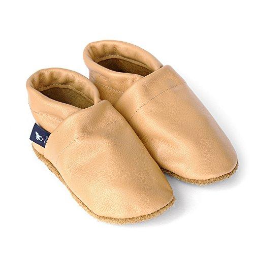 pantau.eu Kinder Lederpuschen Krabbelschuhe Babyschuhe Lauflernschuhe Unifarben Apricot
