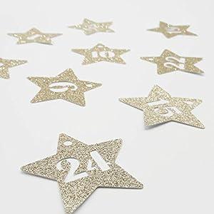 24 Adventskalender Zahlen Anhänger Adventskalenderzahlen Sterne GLITTER GOLD Adventskalender-Zahlen 1-24 Countdown-Adventskalender AniPolDesign made in Germany