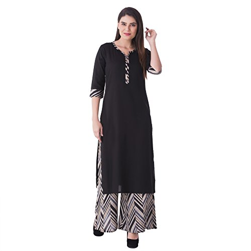 KHUSHAL Women's Cotton Kurti Palazzo Set (Kk76-Black-L_Black_Large)