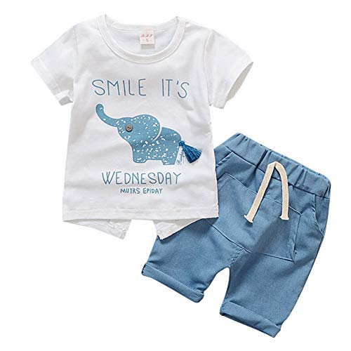 Reefa Baby Jungen Mädchen Sommer Kurzarm Cartoon Elefant Muster T-Shirt Shorts 2 Stücke Outfits Set