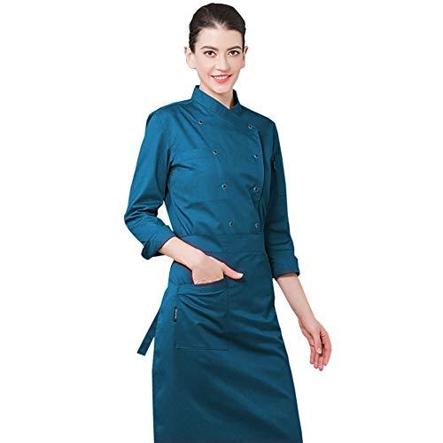 (Lsgepavilion Restaurant Hotel Latzhose Frühling atmungsaktiv Doppelreihige Knöpfe Langarm Chef Kostüm, Polyester, dunkelgrün, XXX-Large)