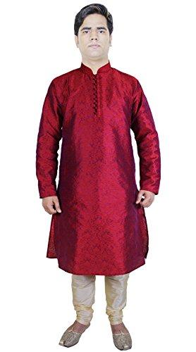 gli-uomini-di-moda-abiti-kurta-pigiama-punjabi-indiano-kurta-etnico-formato-rosso-m