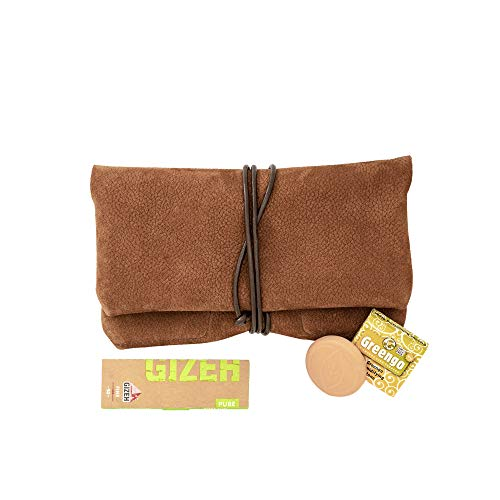 COMARI Tabaktasche aus Wild-Leder  Separates Paper- & Filterfach   gratis Gizeh Papers & Greengo Tabakbefeuchter (Cognac Braun) -