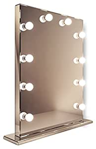 Miroir de maquillage hollywood rond finition miroir led for Miroir hollywood