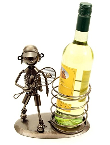 H-LINE Weinflaschenhalter TENNISSPIELER auf eleganter Metall-Platte mit Spirale, Flaschenhalter Geschenkidee für Männer & Weinliebhaber, mit Figur aus Metall, Gastgeschenk