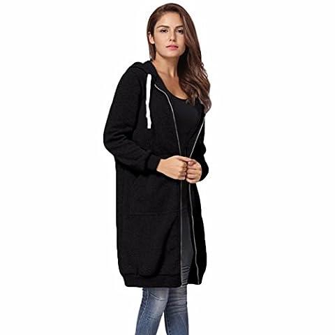 Bluestercool Femmes Sweat-shirt à Capuche Longue Manteau Veste Tops Outwear pour Automne et Hiver (S, Noir)