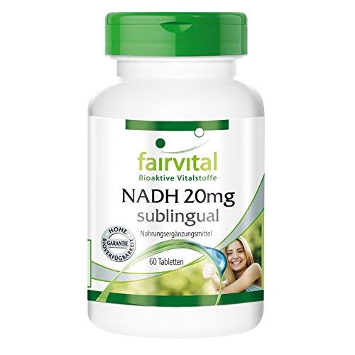 fairvital - NADH 20mg - assorbimento veloce ed efficace tramite mucosa orale - 60 compresse vegetali sublinguali