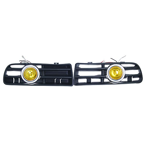 Custom OEM Replacement 2x Front Yellow Lens Amber Fog Lights Lamp & Side Grilles With CCFL Left Right 12V for 1999-2004 Volkswagen Golf MK4