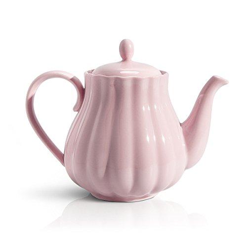 Sweese 2302 Kanne aus Porzellan, Teekanne / Kaffeekanne 800ml, Rosa