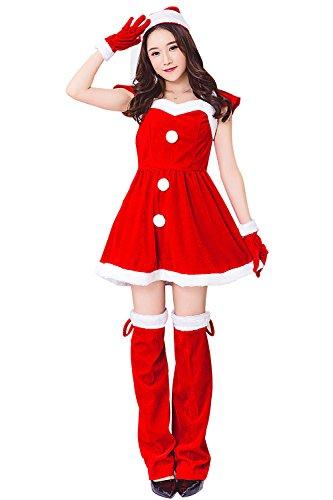 DecoBay Christmas Costume Cosplay Erwachsene Weihnachten Weihnachtsmann Kostüm for Women Lady Adult Performance - Weihnachten Womens Kostüm