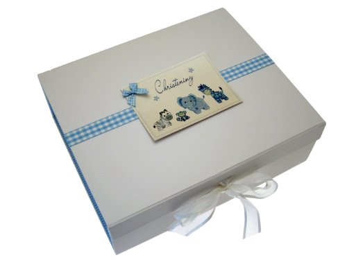 White Cotton Cards Erinnerungsbox zur Taufe, A4, Blau