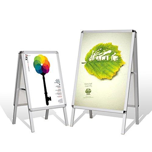 Preisvergleich Produktbild Femor Plakatständer 2 Fächer DIN A1/A2 mit Elegantem Aluminiumrahmen Plakatständer Kundenstopper Aufsteller (DIN A1)