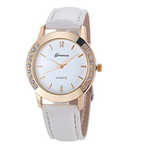 Valentinstag Uhren DELLIN Genfer Mode Frauen Diamant Analog Leder Quarz Armbanduhr Uhren (Weiß)