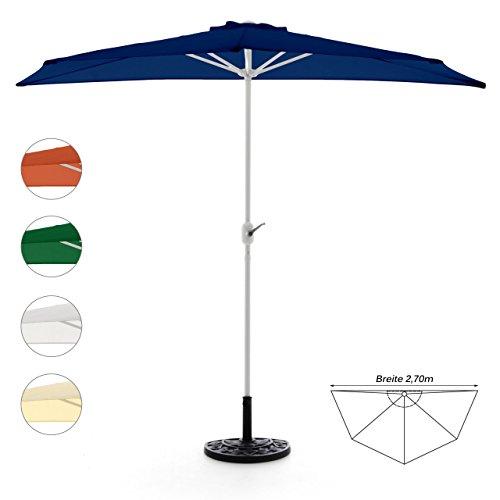 Nexos Komplett-Set Sonnenschirm Blau Halb-Schirm Balkonschirm Wandschirm halbrund 2,70m mit...