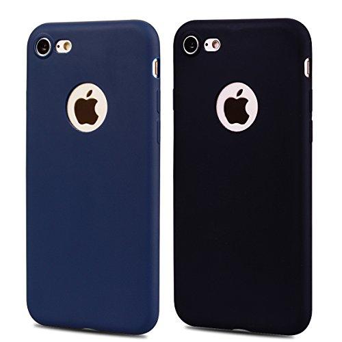 2 x Coque iPhone 7 , Etui Doux TPU Silicone Slim Housse Cover Couleur des Bonbons Bumper Case Souple Flexible Antichoc Pour Apple iPhone 7 (4.7 pouces) Arrière Cas Ultra Mince Anti-Rayures de Protecti Bleu Marin + Noir