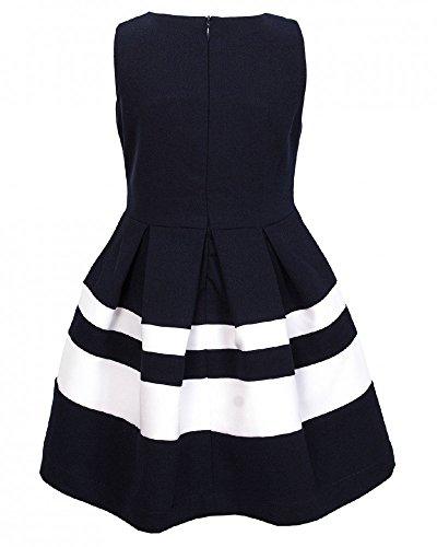 La-V Festliches Kleid gestreift mit Schleifen Blau/Weiß