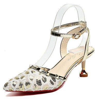 LvYuan Da donna Sandali Comoda PU (Poliuretano) Estate Casual Footing Comoda Fibbia A stiletto Oro Nero Rosa 7,5 - 9,5 cm Gold