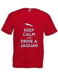Keep Calm And Drive A Jaguar T-Shirt, Mens, Red, Medium