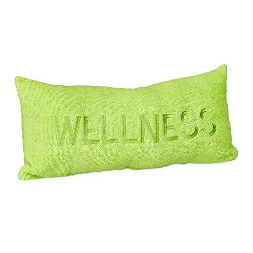 Relaxdays Badewannenkissen Mikrofaser WELLNESS HBT ca. 10 x 37 x 15 cm extra weiches Nackenkissen für die Badewanne mit 2 Saugnäpfen als Wannenkissen oder Reisekissen mit gesticktem Motiv, hellgrün