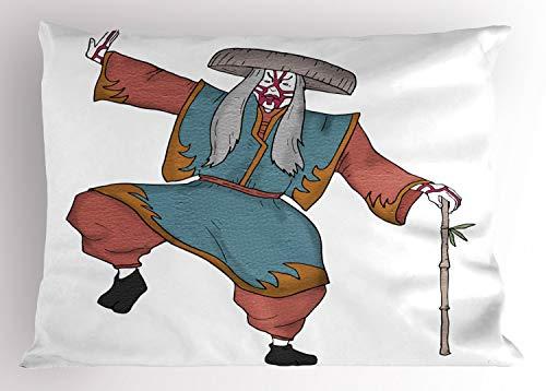 Masken Asiatische Kostüm - ABAKUHAUS Kabuki-Maske Kissenbezug, Asiatischer Kostüm Hut, Dekorativer Standard Size Gedruckter Kissenbezug, 65 x 50 cm, Mehrfarbig