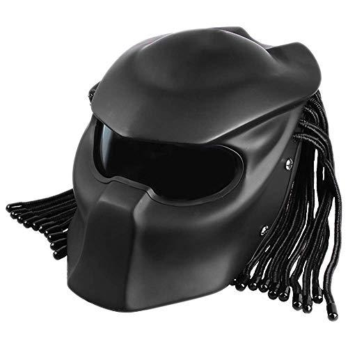 BQT Casco da Moto Predator Full Face con Obiettivo antinebbia, Quattro Stagioni, da Uomo e da Donna, con Luce, Certificato di Sicurezza DOT, F,XL