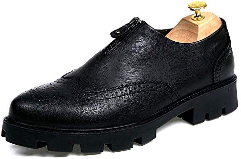 2018 Business Casual da Uomo Classico Oxford Moda Altezza Rialzo Soletta Rust Zipper Suola Scarpe Brogue (in Pelle... | Di Alta Qualità  | Uomini/Donne Scarpa