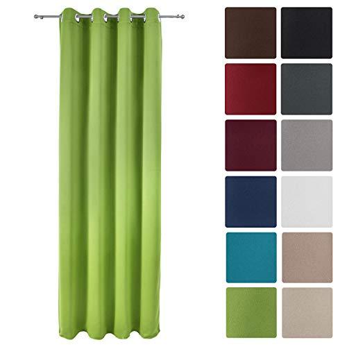 Beautissu tenda oscurante con occhielli serie amelie bo - 140x245 cm - verde - per finestre e balconi