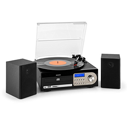 Majestic TT 38N CD TP USB SD - Giradischi 33/45/78 giri, lettore CD/MP3, radio, cassetta, Ingresso USB/SD recorder, Nero