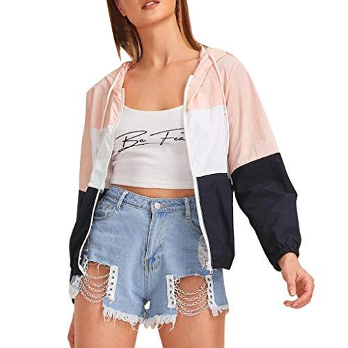 Xuthuly Mode Sweatshirt Frauen Farbblock Kordelzug Mit Kapuze Windjacke Damen Casual Tasche Langarm Dünne Sport Mantel Outwear -