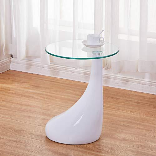 Hochglanz Glas (GOLDFAN Kleine Glas Beistelltisch -Moderne Seitentisch Couchtisch mit Hochglanz für Wohnzimmer und Büro, Glas Couchtisch,Weiß(42*42*55 cm))