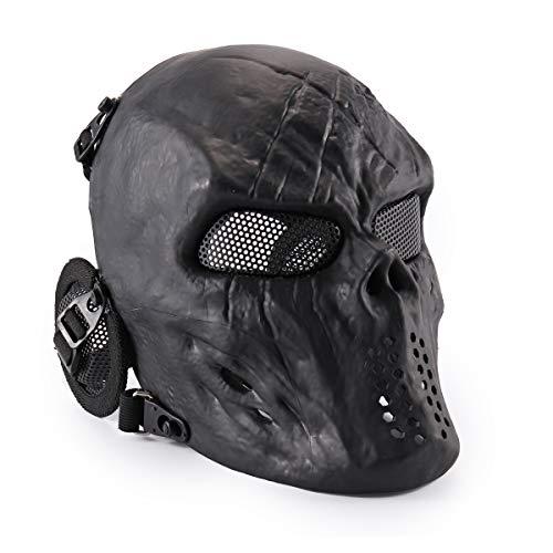 Wwman - Máscara táctica de cara completa para airsoft, paintball y juegos de guerra, diseño de calavera, equipo de protección, negro