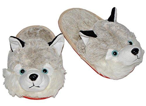 Hausschuh / Pantoffel - Hund Husky - Größe Gr. 29 30 31 32 33 34 - Plüschhausschuh für Kinder Erwachsene Hausschuhe Tiere - Hausschuhe Für Hund Frauen
