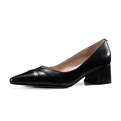 Bild von Ximu Neue Damen Lederschuhe Einfache Bequeme Spitze Schuhe Sommer Sandalen Pump Weiß Schwarz 5cm