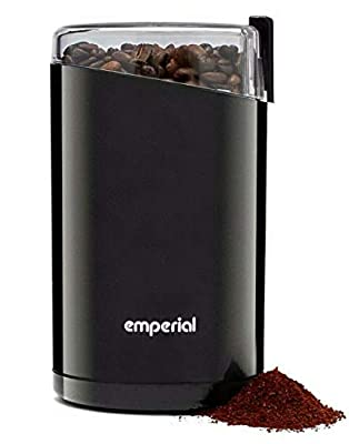 Emperial Electric Coffee Grinder, Coffee Bean, Nut Spice Powerful 140W Grinder Blender Mill [Stainless Steel Blades] 60g Capacity - Black by Emperial