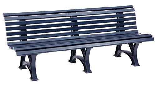 Sitzbank / Gartenbank 4-Sitzer: Borkum, Länge 200cm, blau (hochwertiger Kunststoff, Parkbank Made in Germany)