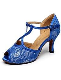 JSHOE Frauen Sexy T-Strap Latin Salsa Jazz Tanzschuhe Ballsaal Latin Tango Party Tanzschuhe High Heels,Blue-heeled8.5cm-UK6.5/EU40/Our41