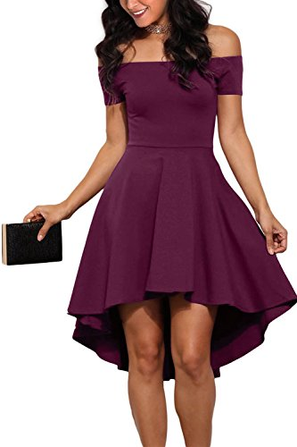 GERMMI Damen Kleid Abendkleid Schulterfreies Cocktailkleid Jerseykleid Skaterkleid Knielang Elegant...