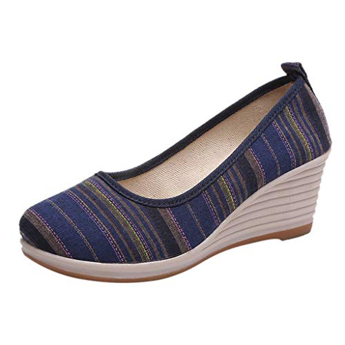 Yvelands Damen Mädchen Runde Zehekeile Gestreifte Ethnische Stil Müßiggänger Casual Schuhe(CN-40,Blau)