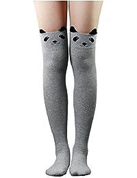 Live it estilo it para mujer Cat Bear Cartoon largo calcetines rodilla alta medias negro azul