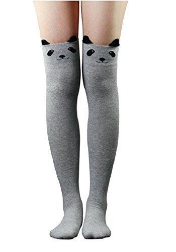 Live it Style It Kniehohe Langsocken für Damen/Mädchen, Katze-/Bär-Motiv, schwarz/blau/grau Gr. Einheitsgröße, Grey Bear (Damen Maroon Socken)