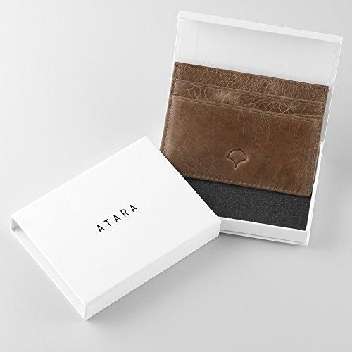 Kreditkartenetui aus Echtleder, Schwarz - RFID-Abschirmung, 5 Taschen, schlankes Design Bräunen