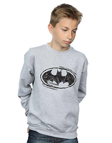 DC Comics Jungen Batman Sketch Logo Sweatshirt Sport Grau 7-8 Years Dc-jersey Sweatshirt