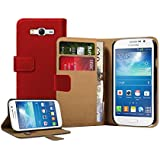 Membrane - Rouge Portefeuille Etui Coque Samsung Galaxy Grand Neo (GT-i9060, GT-i9060DS, GT-i9060L) - Wallet Flip Case Cover Housse