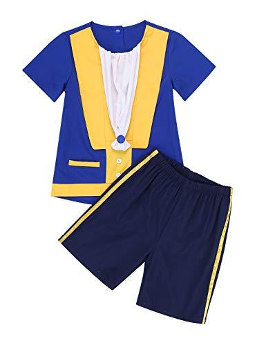 YiZYiF Kinder Jungen Prinz Kostüm Kurzarm Blau Hemd Shirt mit Weiß Kragen + Kurz Hose Halloween Cosplay Fasching Karneval Party Outfit Blau 98-104 (Weißes Hemd Mit Kragen Kostüm)