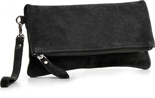 CNTMP, Borsa da Donna, Clutch, Pochette, Borsetta da Sera, In Pelle Scamosciata, Con Tasca in Pelle (MEDIUM), 26x13x2,5cm (L x H x P) grigio scuro