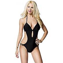 "«salma ""aT monokini noir maillot de bain femme avec coussinets amovibles chaînes de bain sexy"